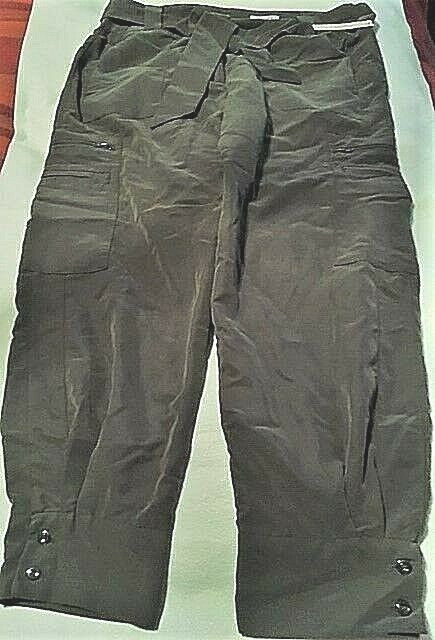 greenIGO PARIS KHAKI HIGH WAIST CARGO PANTS TIE BELT US XL NWT