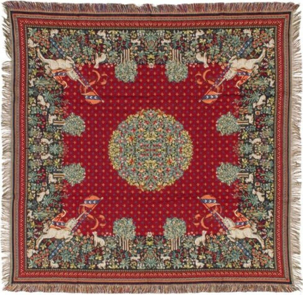 NEW 60  UNICORN BELGIAN TAPESTRY TABLE CHAIR THROW BED SPREAD 718