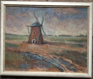 Mill-in-Box-Expressionist-Oil-Painting-Northern-German-Colony-Moor-Unsigned