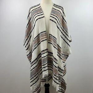 AEO-Boho-Woven-tribal-Frayed-Edge-Kimono-long-cardigan-duster-One-Size