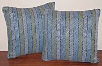 2 Blue Striped Polyester Outdoor Indoor Throw 16x16x6 Pillow Grandinroad $98