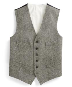 Polo Ralph Lauren Wool Herringbone Charcoal Morgan Twill Button Down Vest