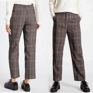 M-amp-S-High-Rise-STRAIGHT-LEG-Cropped-TROUSERS-with-WOOL-16-Long-NAVY-MIX-Check