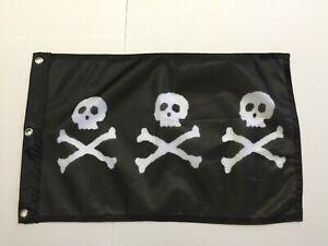"12x18 12/""x18/"" Wholesale Combo Pirate Chris Condent /& Crossbones Skull Stick Flag"