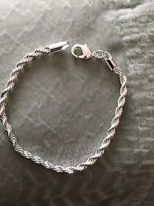 Women-039-s-925-Sterling-Silver-Plated-Rope-Charms-Bracelet-Bangle