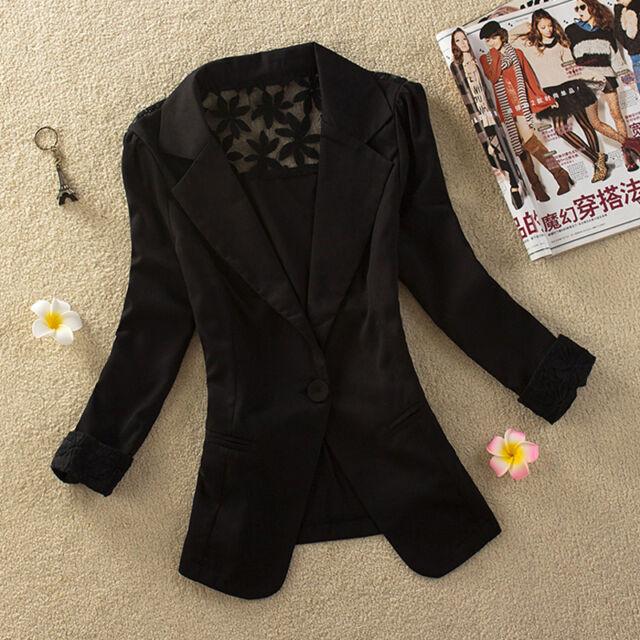Candy Color Long Sleeve Button Slim Casual Women Blazer Suit Jacket Coat Outwear