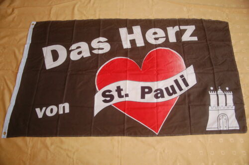 Das Herz von St.Pauli Flagge Fahne Hißflagge Hissfahne 150 x 90 cm