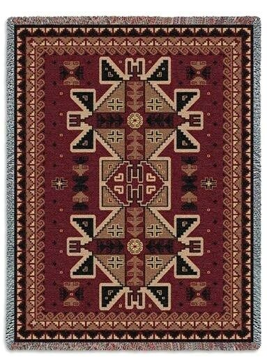 SOUTHWEST INDIAN ART DESIGN RED PARGUAY TAPESTRY THROW AFGHAN BLANKET SET OF 3