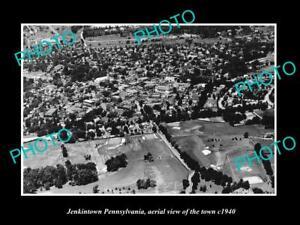 OLD-HISTORIC-PHOTO-OF-JENKINTOWN-PENNSYLVANIA-AERIAL-VIEW-OF-THE-TOWN-c1940