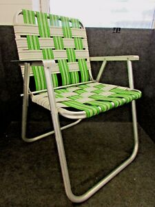 Image Is Loading 1970 039 S ALUMINUM FOLDING WEBBED LAWN CHAIR