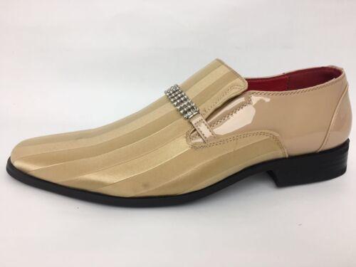 Mens Italian Design Leather Look Diamante Slip On Shoes  Colour Gold Sizes 6-12