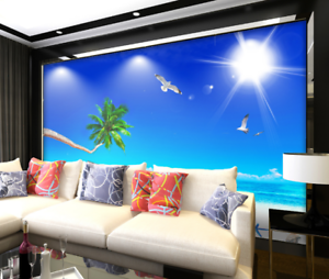 3D bluee Sky Sea Sun 74 Wall Paper Murals Wall Print Wall Wallpaper Mural AU Kyra