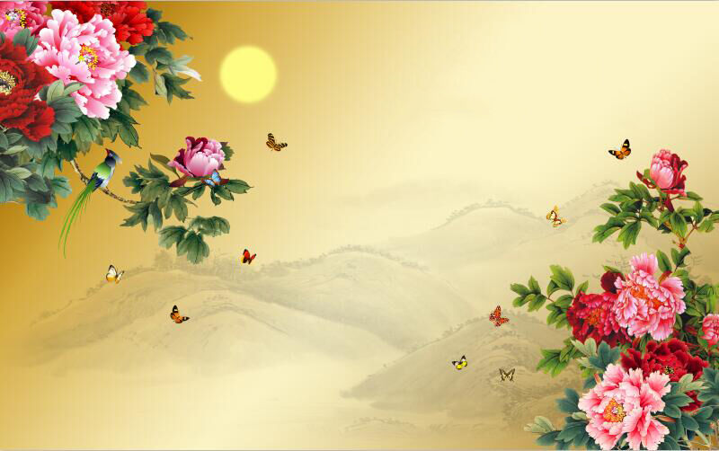 3D Flowers bright sun image wallpaper Decal Dercor Home Kid Nursery Mural  Home