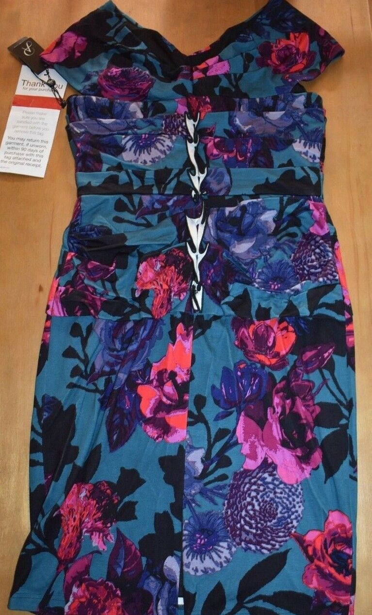 NEW Womens Adrianna Papell Papell Papell Floral Printed Gathered Ponte Dress 14 NWT  150 00a986