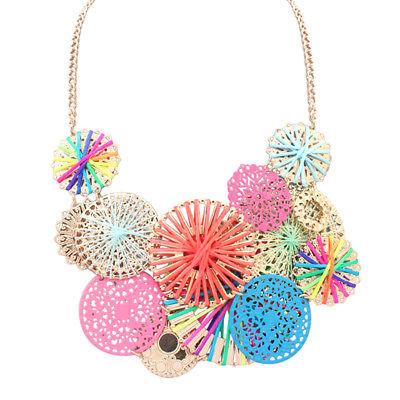 Women Fashion Flower Pendant Charm Choker Chunky Statement Bib Chain Necklace