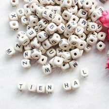 50Pcs Natural Random Alphabet Letter Cube DIY Blend Wood Beads Craft Gift 10mm