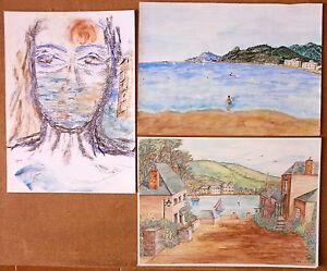 gruppo-10-disegni-e-dipinti-matita-sanguigna-acquerello-pastello-schizzi