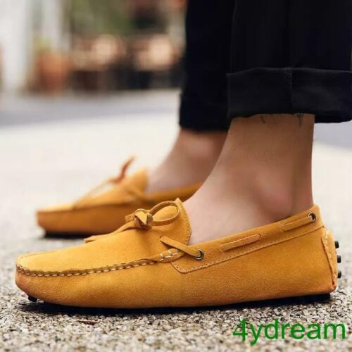 Mens Suede Slip On Knotted Casual Driving Shoes Loafers Moccasin-gommino Shoes