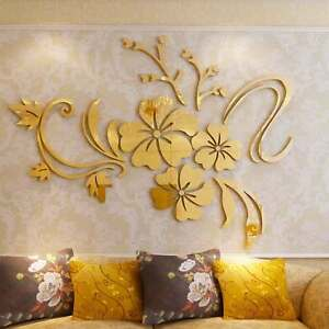 Espejo-de-Pared-Pegatina-3D-Extraible-Flor-Arte-Acrilico-Mural-Calcomania-Pared-Decoracion-Del-Hogar
