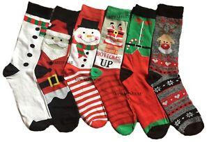 NUOVO-Uomo-Donna-Ragazze-Natale-Festive-i-calzini-BUFFI-Babbo-Natale-Pupazzo-di-Neve-Natale-Calzini