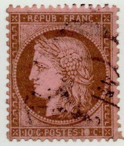 1871-73-FRANCIA-CERERE-10-CENT-MARRONE-CAT-UNIF-N-54-USATO