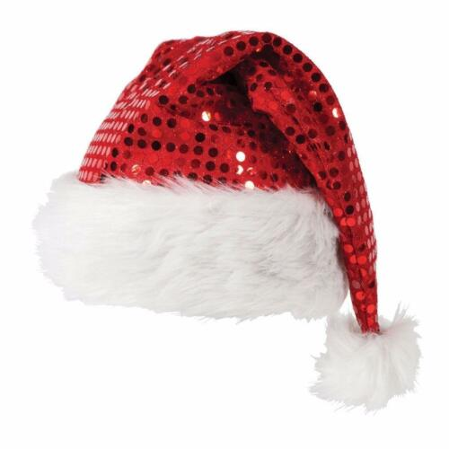 ADULT//Kid DELUXE SEQUIN CHRISTMAS XMAS PARTY SANTA FANCY DRESS COSTUME HAT lot