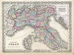 BEAUTIFUL-1855-FIRST-EDITION-COLTON-039-S-MAP-NORTHERN-ITALY-POSTER-PRINT-2965PYLV