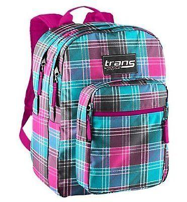 NEW JANSPORT Trans SuperMax Backpack Pink Plaid Book Bag Girls School Pack NWT