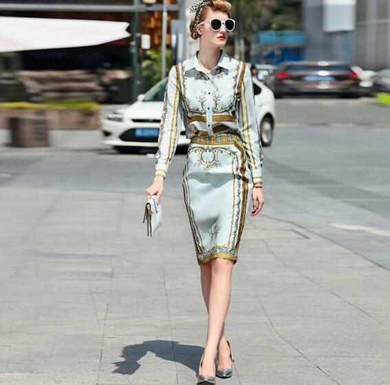 Womens Occident printing Long sleeve shirt Opening Half skirt Suits Slim 2PC SY