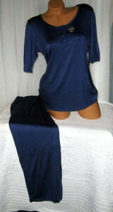 Dark-Blue-Pajama-Set-Stretch-Harve-Benard-M-L-3-4-Sleeves-Relaxed-Fit
