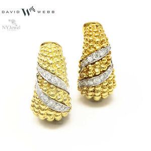 9a40c06086f NYJEWEL David Webb 18k Gold Platinum 1.16ct Diamond Heavy Earrings ...