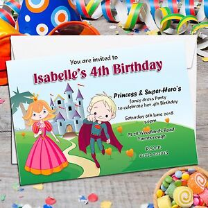 10 personalised girls boy princess and super hero birthday party