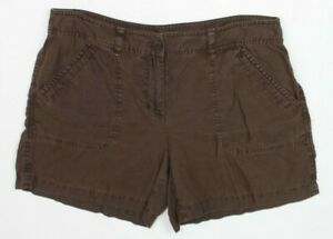 Tommy-Bahama-Womens-Size10-Brown-Shorts-Leigh-Fit-Linen-Two-Palms-Trouser-Fit
