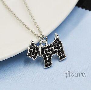 Black-Crystal-Rhinestone-Silver-Westie-Scottie-Dog-Animal-Pendant-Necklace