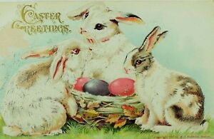 Embossed-Germany-C-1910-Easter-Postcard-Rabbits-amp-Nest-Of-Colored-Eggs-P77