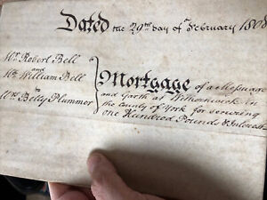 Antique 1808 Vellum Legal Document Withernwick Yorkshire Mortgage Hand Written