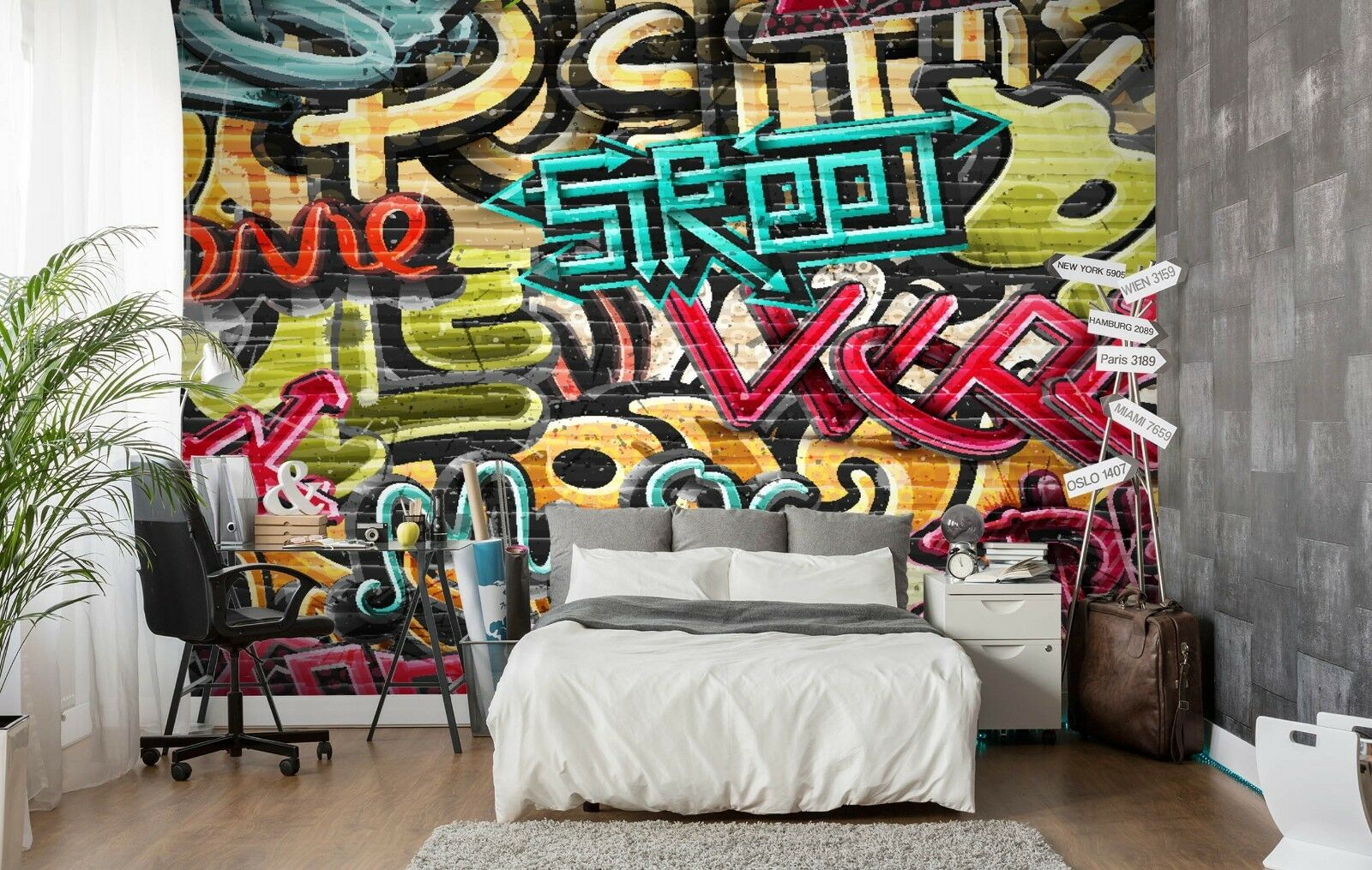 3D Graffiti Red 7112 Wallpaper Mural Paper Wall Print Indoor Murals CA Summer
