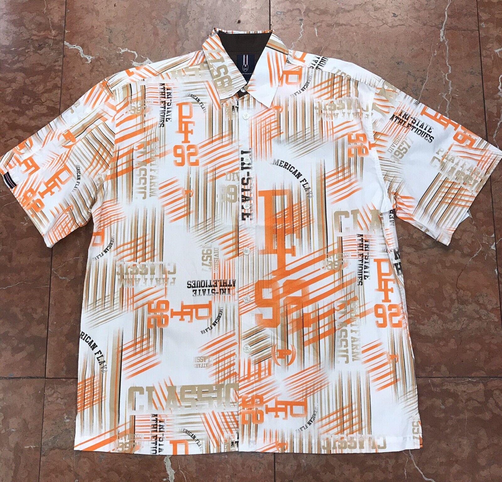 Men's Phat Farm White   orange All Over Short Sleeve Button Down Shirt