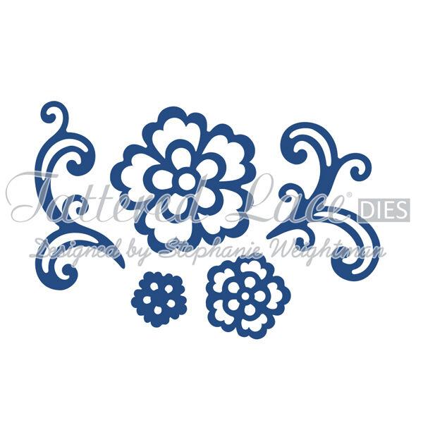 TTLD677 ~ NIP Tattered Lace Dies ~ Floral Flourish /& Lace Rose 5-Piece Set