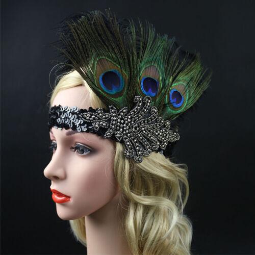 Vintage Retro Sequin Feather Flapper Headband 1920s Great Gatsby Headpiece PEV
