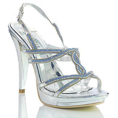 Nuevo para mujer señoras de plata diseñador de Taco Alto Plataforma Noche Sandalias Zapatos Talla