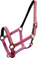 Pink Horse Size Nylon Halter W running Horse Overlay Horse Tack