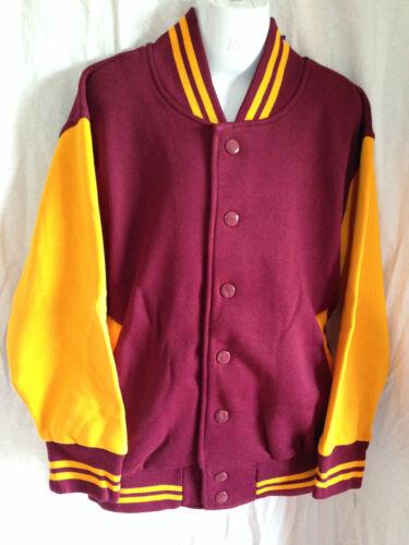 BNWT Boys//Girls Sz 10 L W Reid Maroon//Gold Varsity Letterman Baseball Jacket