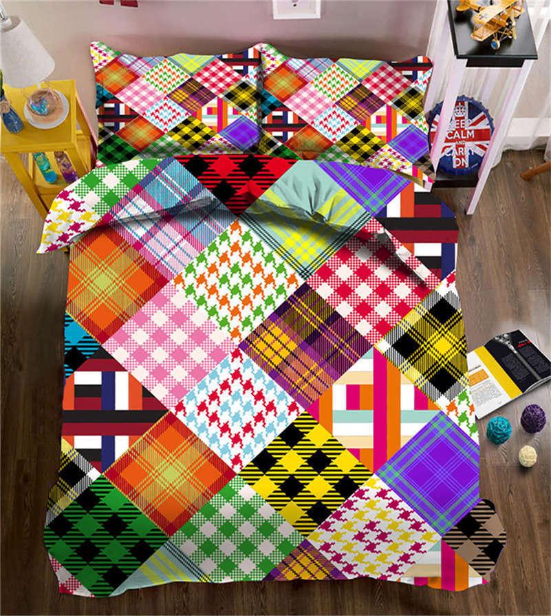 Square Lattice 3D Printing Duvet Quilt Doona Covers Pillow Case Bedding Sets