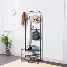 3-Tier Garment Rack Metal Entryway Coat Hat Shoe Rack w/ Hooks and Hanger Bar