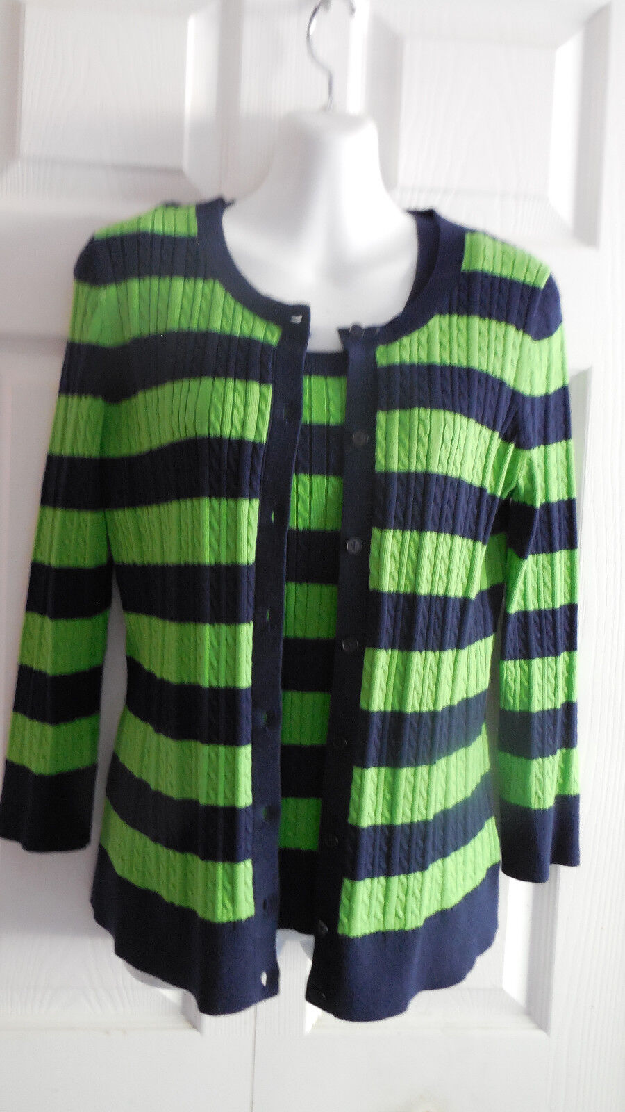 TALBOTS  2PC SLEEVELESS TANK TOP  & LONG SLEEVE STRIPED TWIN CARDIGAN  SWEATER S