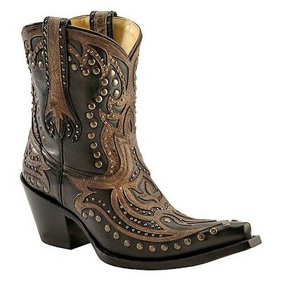 Corral Womens Black Short Top Inlay Studded Snip Toe Boot G1074 New