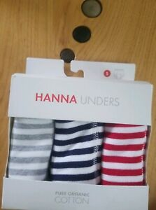 NWT HANNA ANDERSSON ORGANIC TRAINING UNDERS RED NAVY GREY STRIPE S 100 110 4T 5T