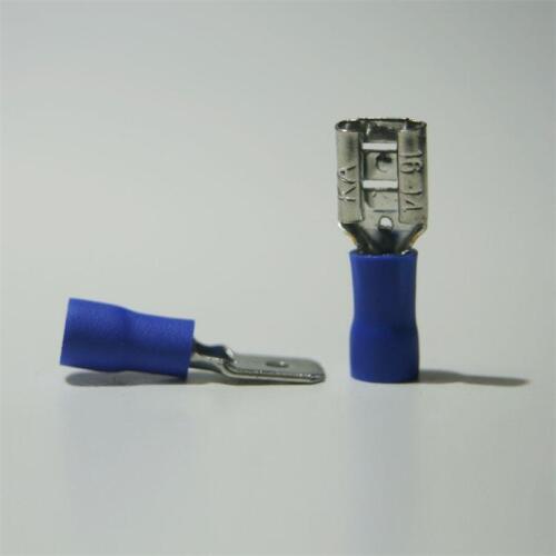 100 Paar Kabelschuhe Stecker /& Buchse blau 6,3 x 0,8mm für 1,5-2,5mm² Kabelschuh