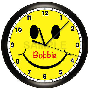 Details about SMILEY FACE WALL CLOCK PERSONALIZED HAPPY CHILDREN\'S BEDROOM  DECOR YELLOW SMILE